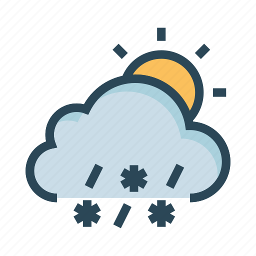 cloud, raining, snowfalling, sun, weather icon