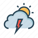 cloud, flash, shine, sun, weather icon