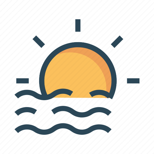 climate, river, shine, sun, weather icon