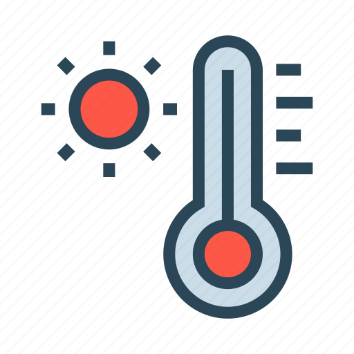 climate, sun, temperature, thermometer, weather icon
