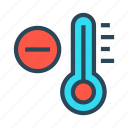 climate, decrease, temperature, thermometer, weather icon