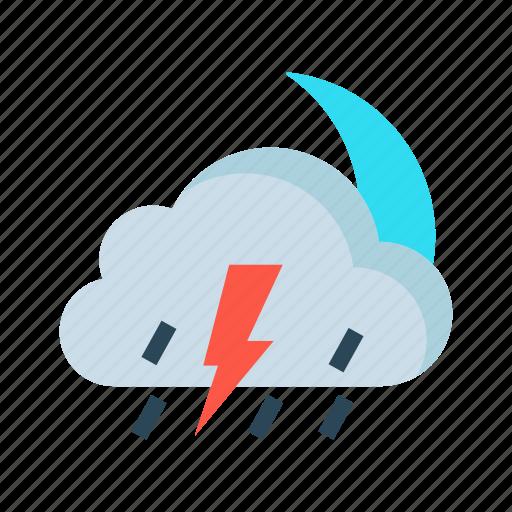 cloud, moon, night, raining, weather icon