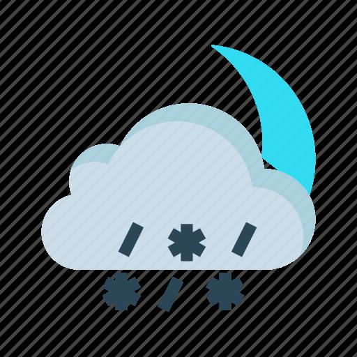 cloud, moon, raining, snowfalling, weather icon