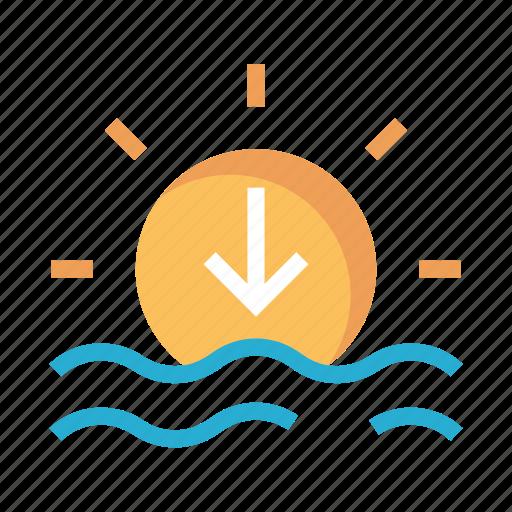 river, sea, shine, sun, weather icon