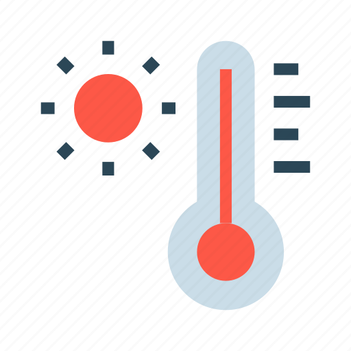 climate, sun, temperature, thermometer, weather icon