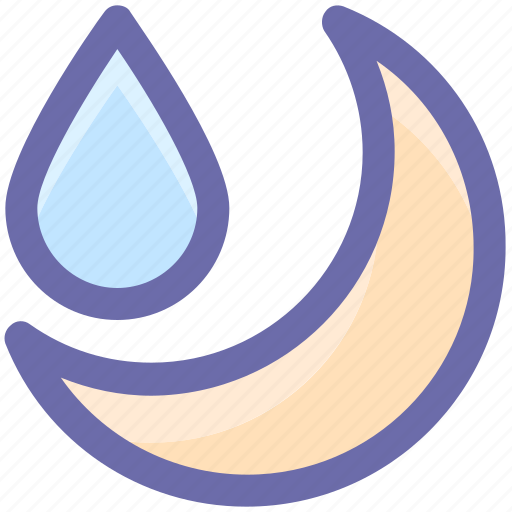 cool, moon, night, rain, rainy, weather icon