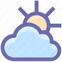 cloud, day, forecast, sun, sunny, thin, weather icon