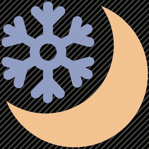 cold, moon, night, night moon, snow, snowflake, weather icon