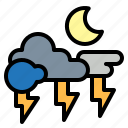 lightning, night, rainy, storm, thunder icon