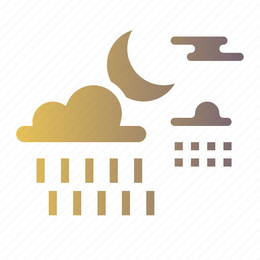 Night, rainy, cloud, forecast, moon, rain, weather icon - Download on Iconfinder
