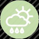 cloud, day, forecast, rain, rainy, sun, weather icon