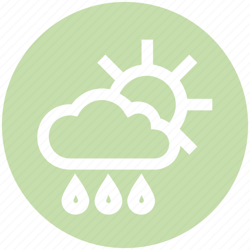 cloud, day, forecast, rain, rainy, sun, weather icon