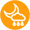 cloud, moon, night, rain, rainy, weather icon
