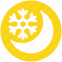 cold, moon, night, night moon, snow, snowflake, weather icon