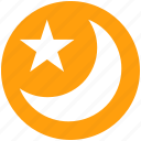 forecast, islam, moon, night, sleep, star, weather icon