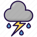 cloud, cloudy, rain, rainy, storm, thunder, weather icon