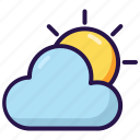 cloud, cloudy, sun, sunny, weather icon