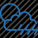 cloud, cloudy, lightning, sun, sunny, weather icon