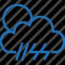 cloud, lightning, rain, sun, weather icon