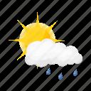 cloud, precipitation, rain, sun, weather icon