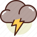 cloud, storm, thunders, warning, weather icon