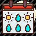 calendar, drop, rain, sunny, weather