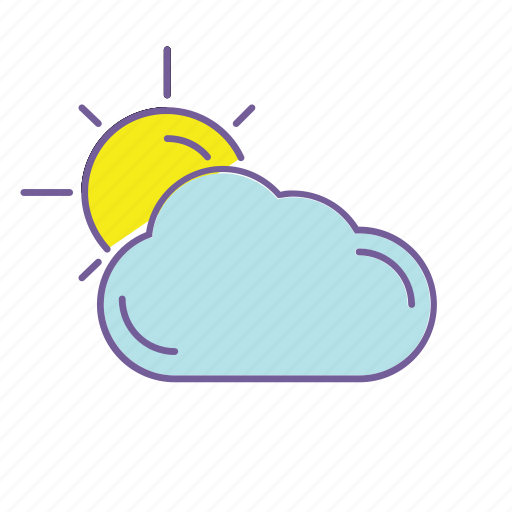cloud, cloudy, color, forecast, line, sun, weather icon