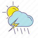 cloud, color, forecast, line, thunder, thunderstorm, weather icon