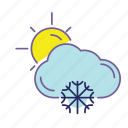cloud, cold, color, snow, sun, weather, winter icon