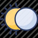 covering, ignites, lunar, eclipse, darkening, cosmic, solar icon