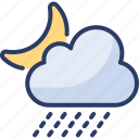cloud, drizzling, drops, moon, night, rainfall, rainy