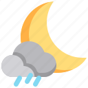 cloud, moon, night, rain, rainy icon