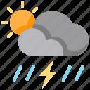 cloud, rain, storm, sun, thunderstorm, weather