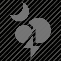 lightning, moon, night, thunder icon