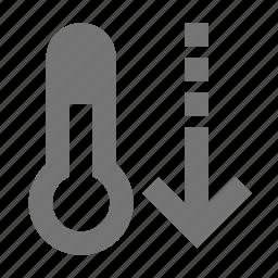 decrease, temperature, thermometer icon