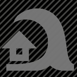 home, house, tidal wave, tsunami, wave icon