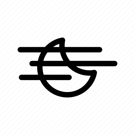 crescent, fog icon