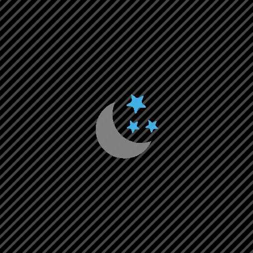 crescent, half moon, moon, night, star, stars, twilight icon