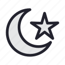 climate, forecast, half, moon, season, star, weather icon