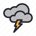 climate, cloud, forecast, season, storm, thunder, weather icon