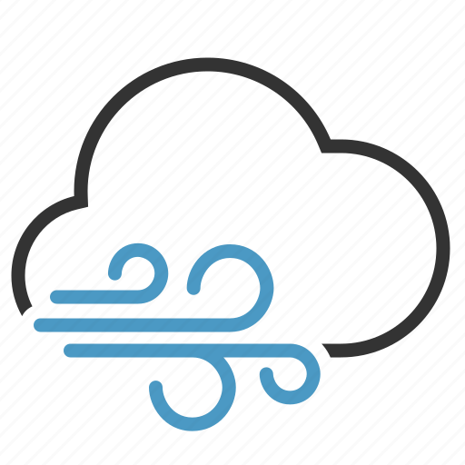 cloud, cloudy, wind, windy icon