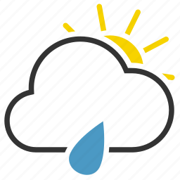 cloud, drop, rain, sun icon