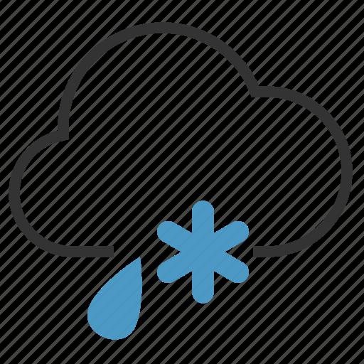 cloud, drop, rain, snow, snowflake icon