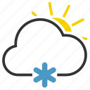 cloud, cloudy, snow, sun icon