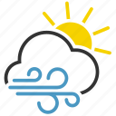 cloud, sun, wind, windy icon
