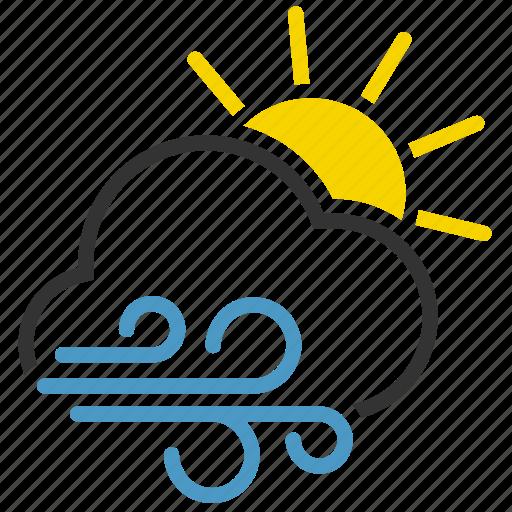 cloud, sun, wind, windy icon