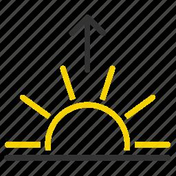 horizon, morning, sun, sunrise, up icon