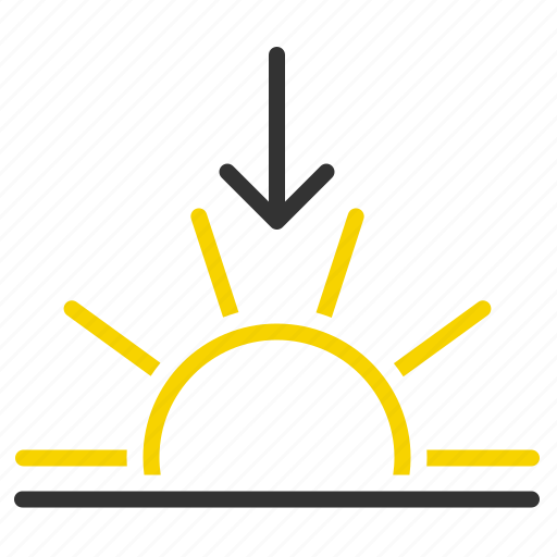 down, evening, horizon, sun, sun down, sunset icon