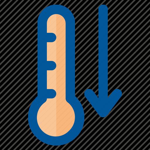 climate, down, forecast, season, temperature, weather icon