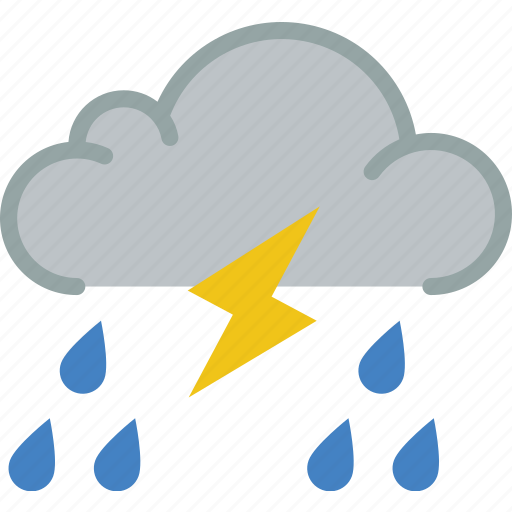 lightning, rain, storm, weather icon